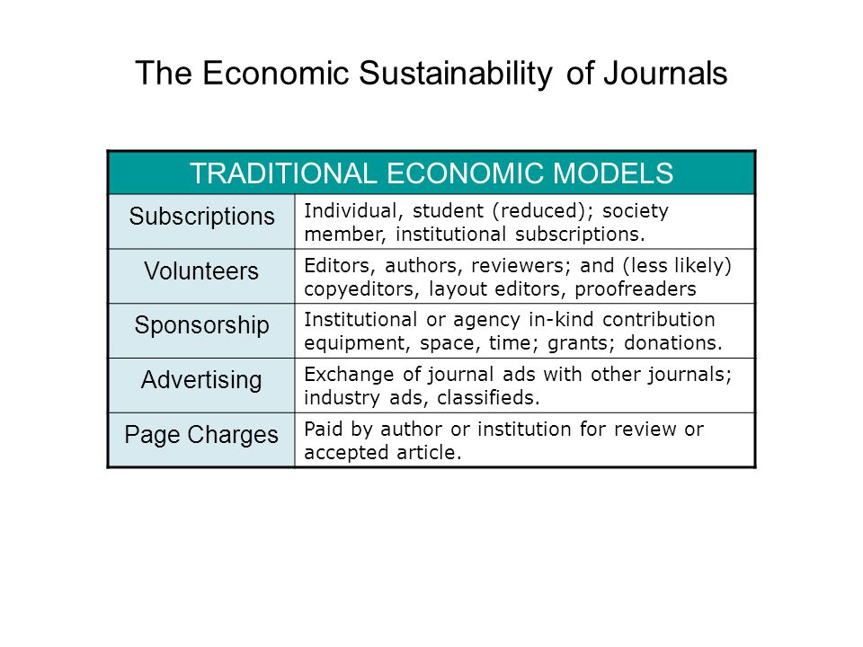 The Economic Sustainability of Journals TRADITIONAL ECONOMIC MODELS Subscriptions Individual, student (reduced); society member, institutional subscriptions.