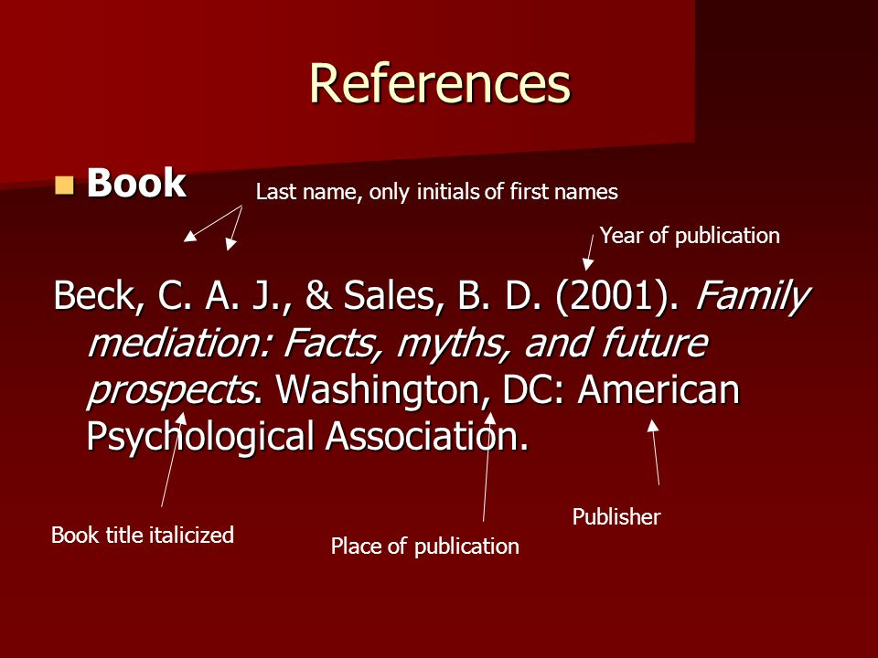 References Book Book Beck, C. A. J., & Sales, B. D. (2001). Family mediation: Facts, myths, and future prospects. Washington, DC: American Psychologic