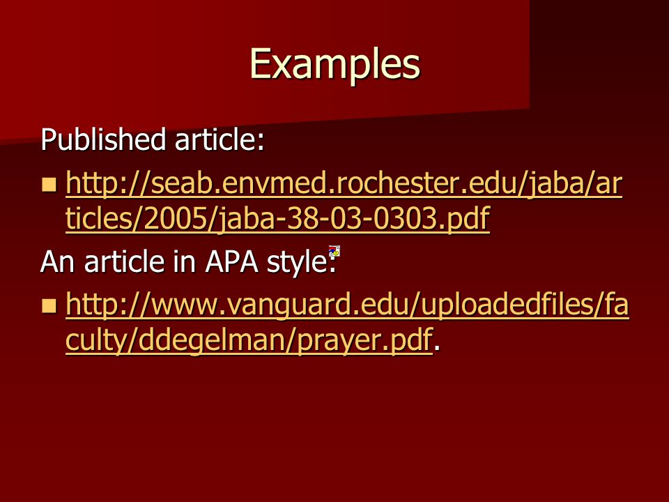 Examples Published article: http://seab.envmed.rochester.edu/jaba/ar ticles/2005/jaba-38-03-0303.pdf http://seab.envmed.rochester.edu/jaba/ar ticles/2