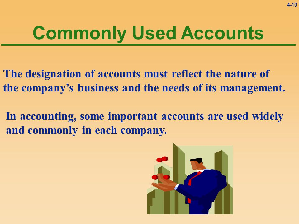 4-10 Commonly Used Accounts The designation of accounts must reflect the nature of the company's business and the needs of its management.