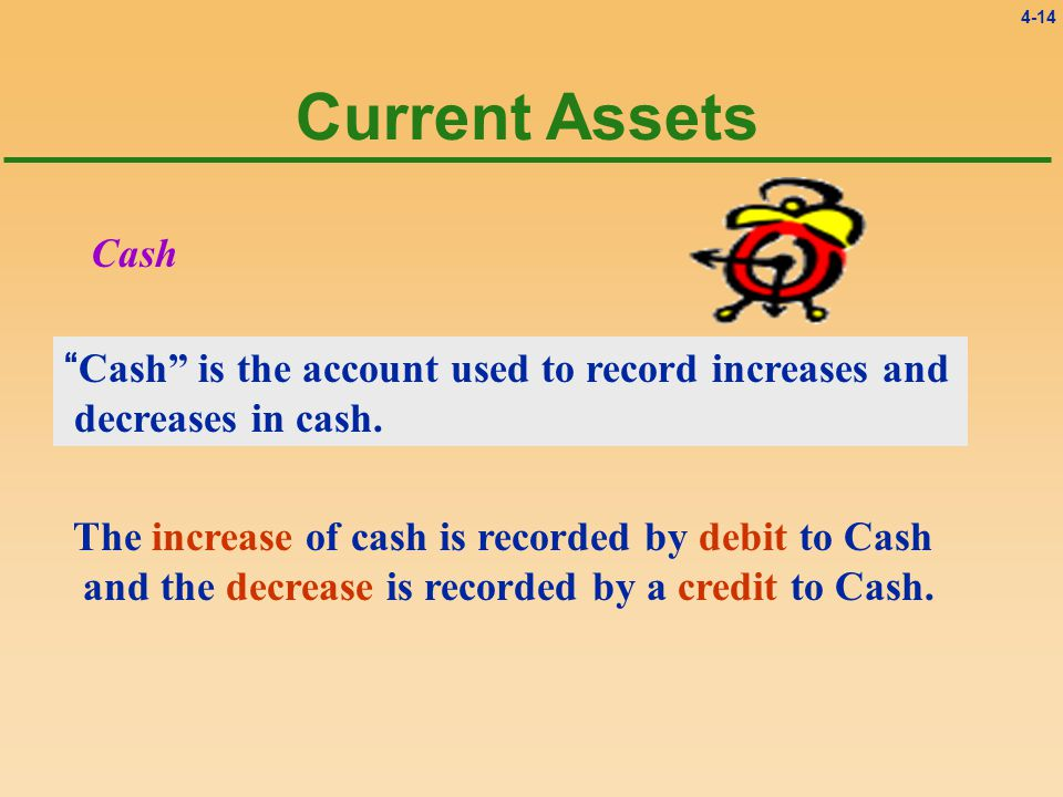 4-14 Current Assets Cash Cash is the account used to record increases and decreases in cash.