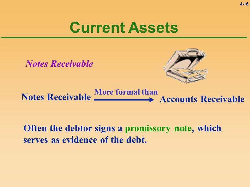4-16 Current Assets Notes Receivable Often the debtor signs a promissory note, which serves as evidence of the debt.