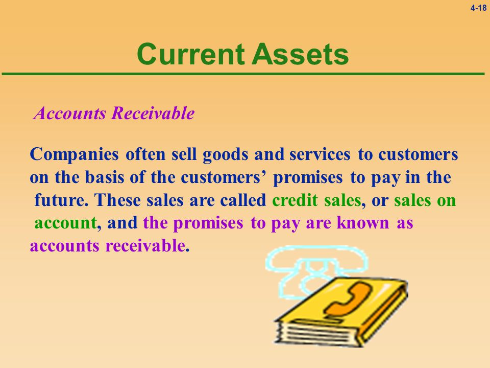 4-18 Current Assets Accounts Receivable Companies often sell goods and services to customers on the basis of the customers' promises to pay in the future.