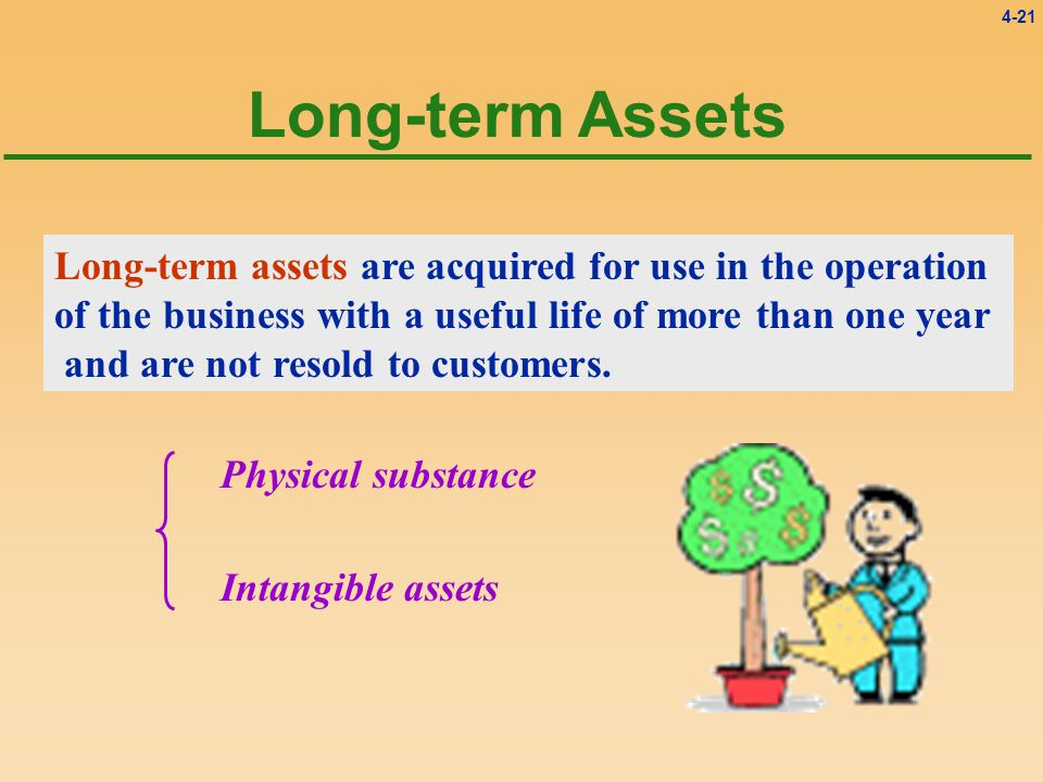 4-21 Long-term Assets Long-term assets are acquired for use in the operation of the business with a useful life of more than one year and are not resold to customers.