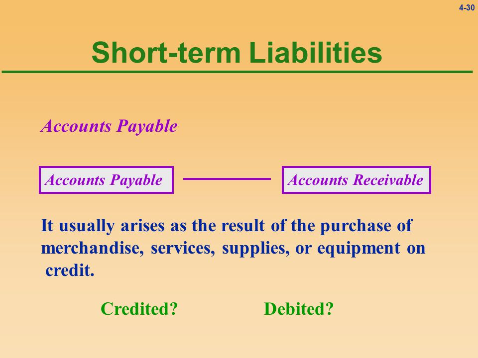 4-30 Short-term Liabilities It usually arises as the result of the purchase of merchandise, services, supplies, or equipment on credit.