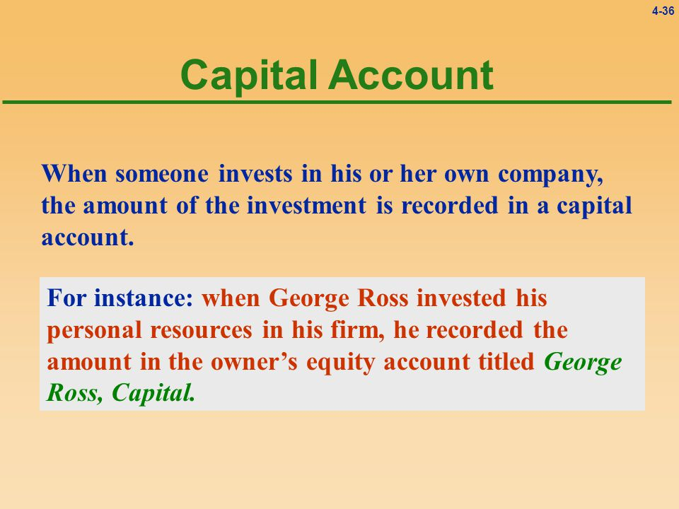 4-36 When someone invests in his or her own company, the amount of the investment is recorded in a capital account.