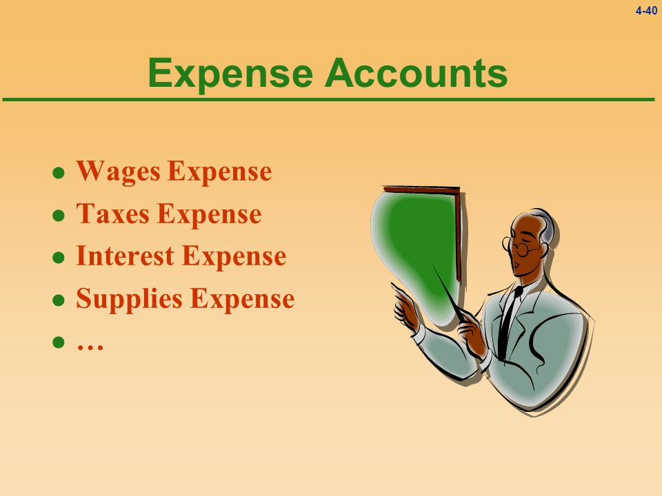 4-40 Expense Accounts l Wages Expense l Taxes Expense l Interest Expense l Supplies Expense l…l…