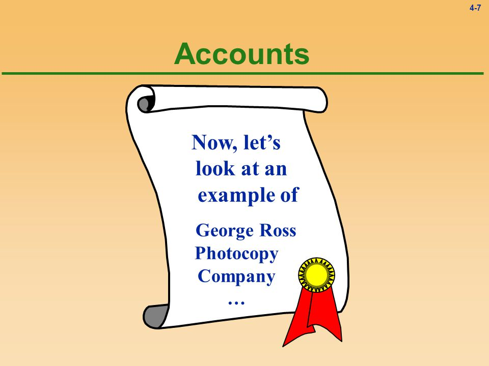 4-7 Accounts Now, let's look at an example of George Ross Photocopy Company …
