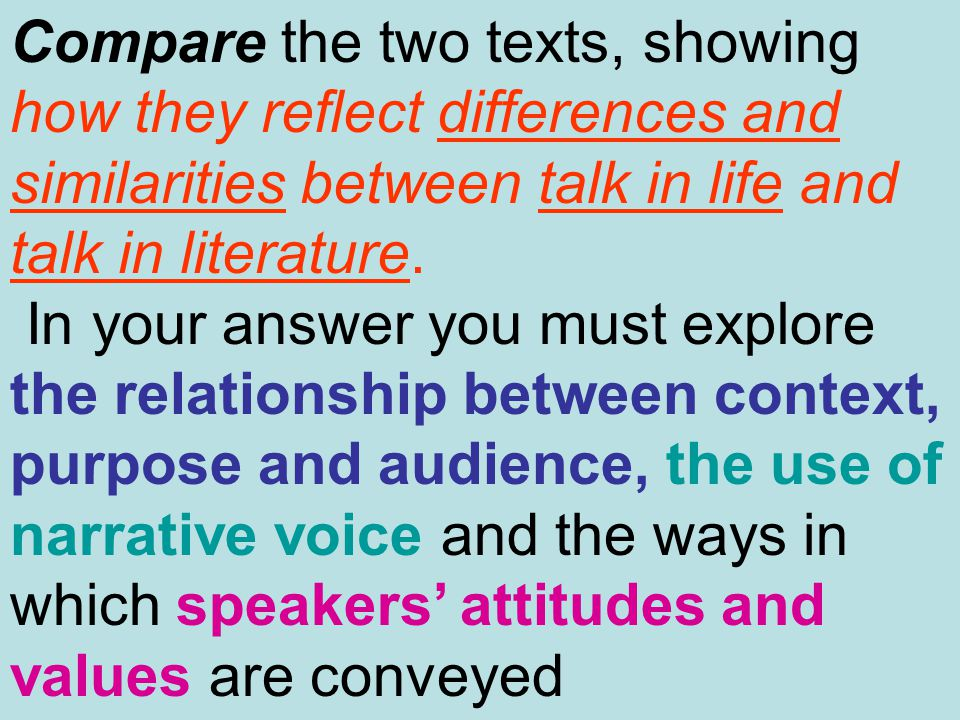 Compare the two texts, showing how they reflect differences and similarities between talk in life and talk in literature. In your answer you must expl