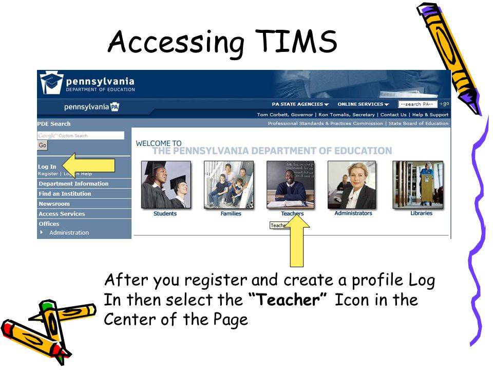 "Accessing TIMS After you register and create a profile Log In then select the ""Teacher"" Icon in the Center of the Page"