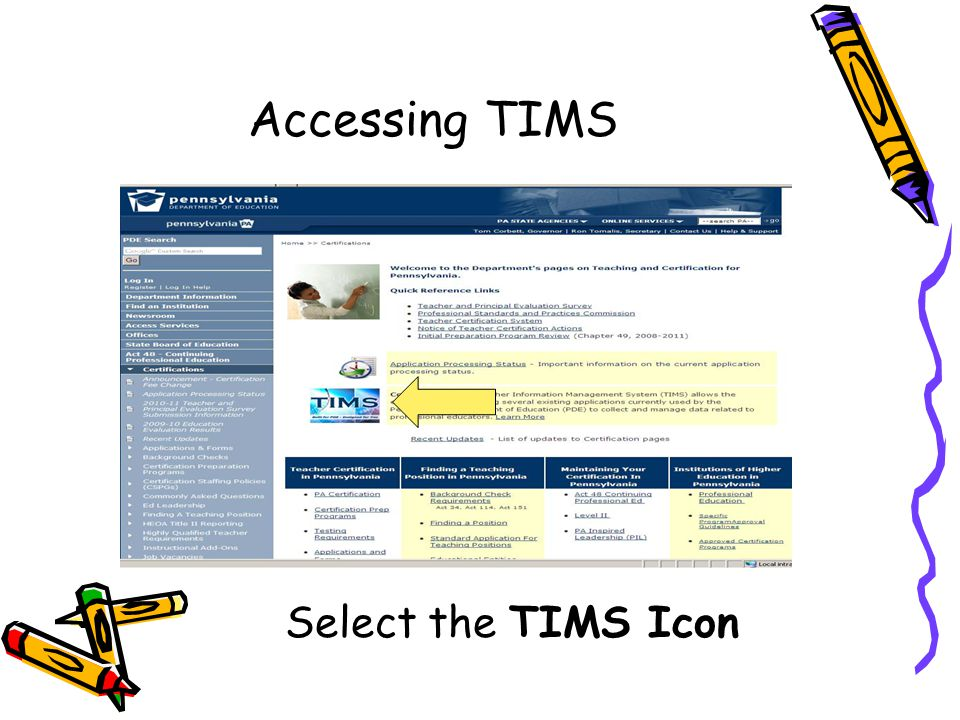 Accessing TIMS Select the TIMS Icon