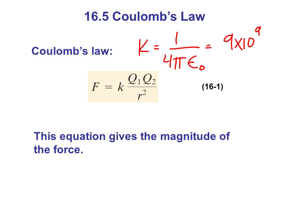 16.5 Coulomb's Law Coulomb's law: (16-1) This equation gives the magnitude of the force.