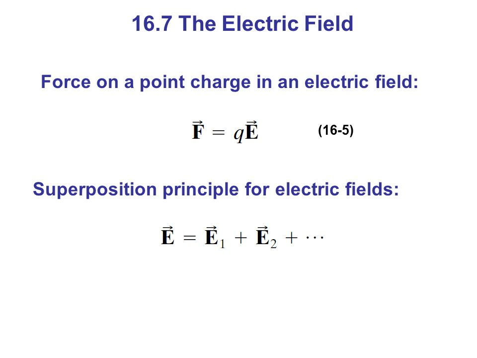16.7 The Electric Field Force on a point charge in an electric field: (16-5) Superposition principle for electric fields: