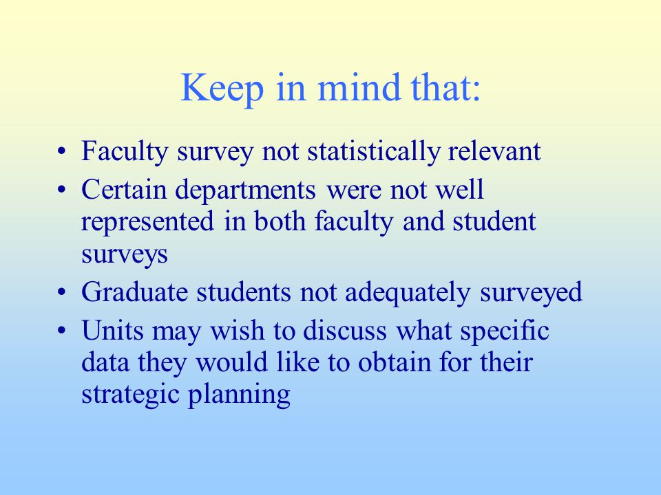 Keep in mind that: Faculty survey not statistically relevant Certain departments were not well represented in both faculty and student surveys Graduate students not adequately surveyed Units may wish to discuss what specific data they would like to obtain for their strategic planning