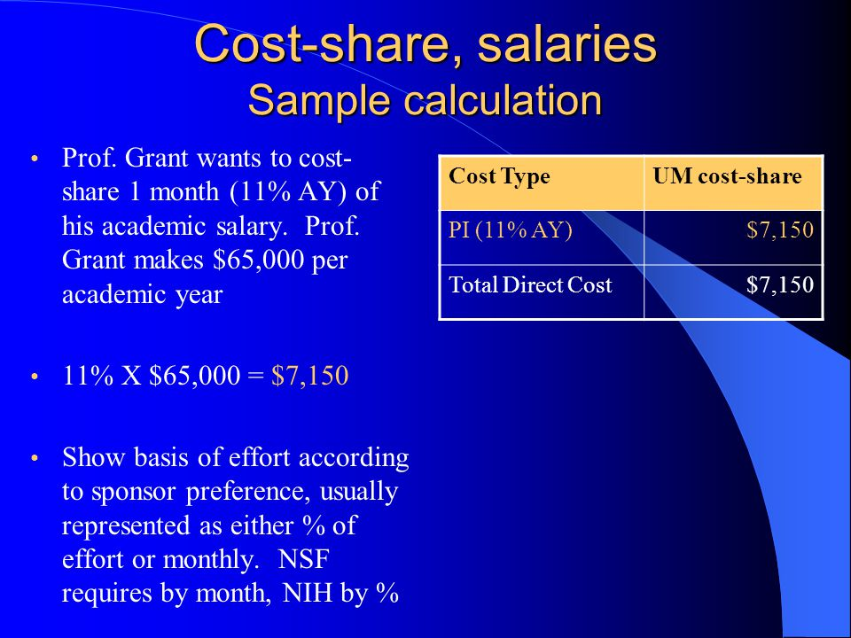 Cost-share, salaries Sample calculation Prof.