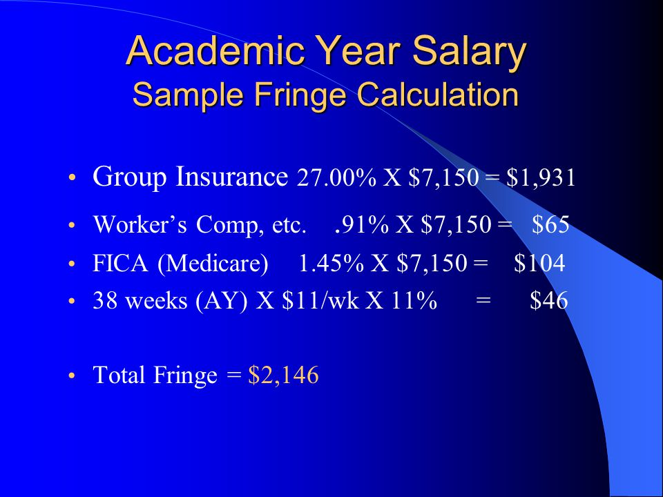 Academic Year Salary Sample Fringe Calculation Group Insurance 27.00% X $7,150 = $1,931 Worker's Comp, etc..