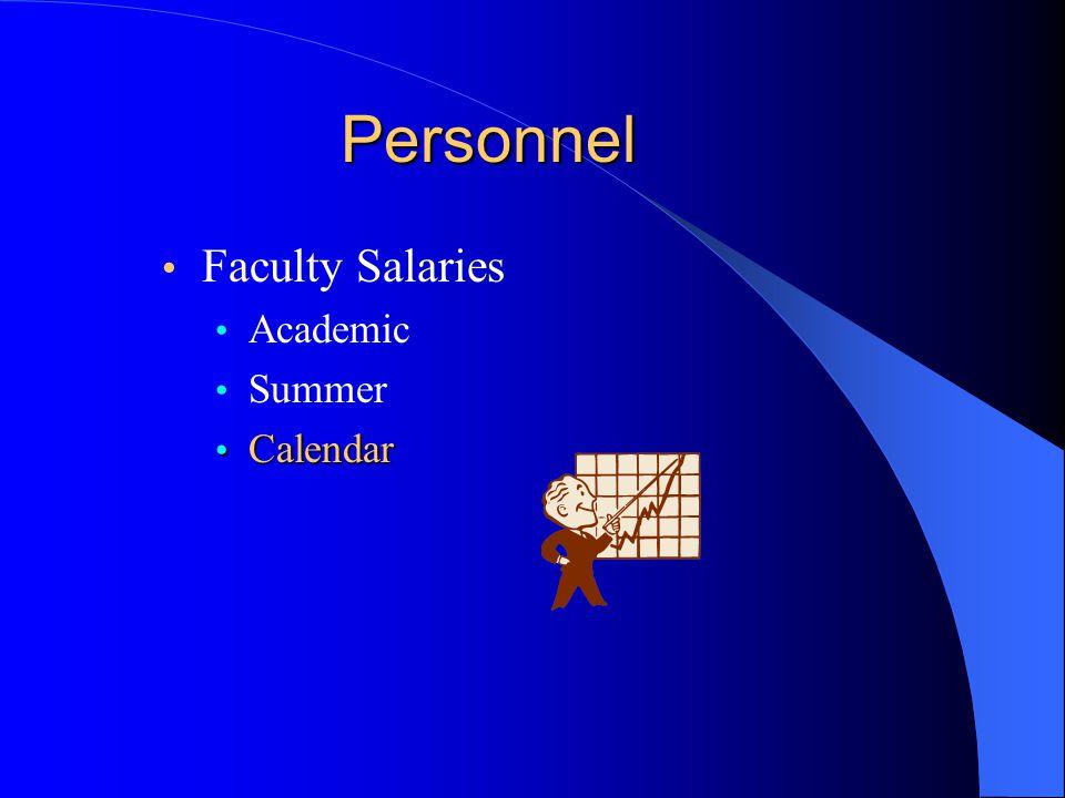 Personnel Faculty Salaries Academic Summer Calendar Calendar