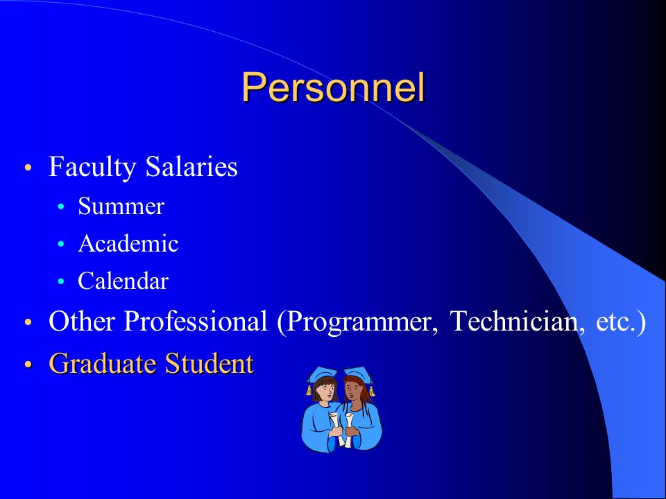 Personnel Faculty Salaries Summer Academic Calendar Other Professional (Programmer, Technician, etc.) Graduate Student Graduate Student