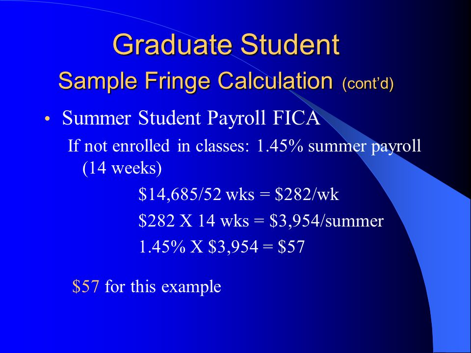 Graduate Student Sample Fringe Calculation (cont'd) Summer Student Payroll FICA If not enrolled in classes: 1.45% summer payroll (14 weeks) $14,685/52 wks = $282/wk $282 X 14 wks = $3,954/summer 1.45% X $3,954 = $57 $57 for this example