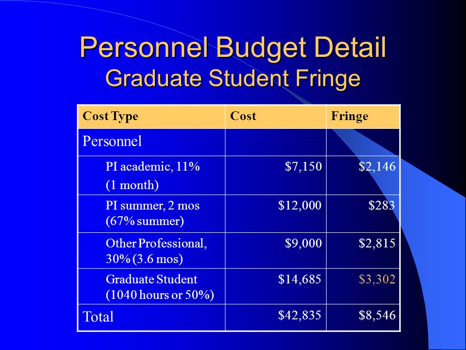 Personnel Budget Detail Graduate Student Fringe Cost TypeCostFringe Personnel PI academic, 11% (1 month) $7,150$2,146 PI summer, 2 mos (67% summer) $12,000$283 Other Professional, 30% (3.6 mos) $9,000$2,815 Graduate Student (1040 hours or 50%) $14,685$3,302 Total $42,835$8,546