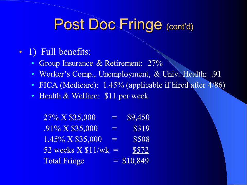 Post Doc Fringe (cont'd) 1) Full benefits: Group Insurance & Retirement: 27% Worker's Comp., Unemployment, & Univ. Health:.91 FICA (Medicare): 1.45% (