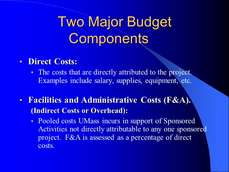 Two Major Budget Components Direct Costs: Direct Costs: The costs that are directly attributed to the project.