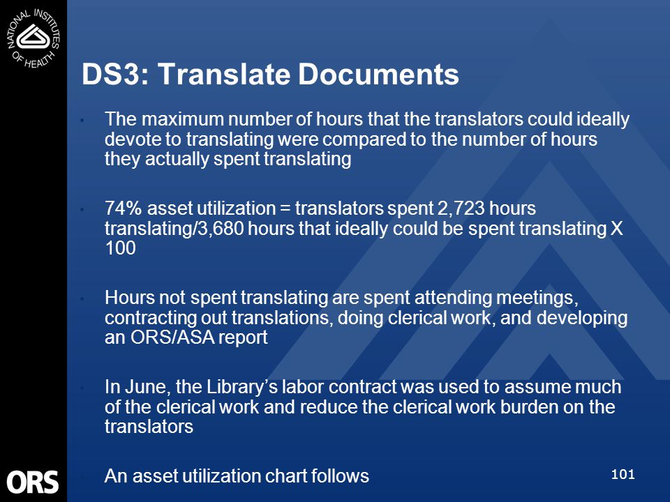 101 DS3: Translate Documents The maximum number of hours that the translators could ideally devote to translating were compared to the number of hours