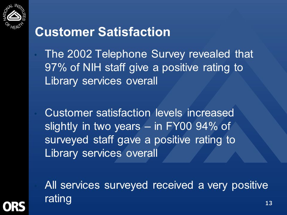 13 The 2002 Telephone Survey revealed that 97% of NIH staff give a positive rating to Library services overall Customer satisfaction levels increased