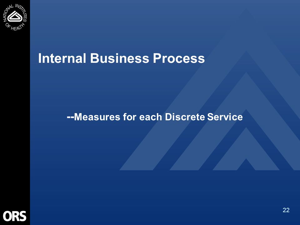 22 Internal Business Process -- Measures for each Discrete Service