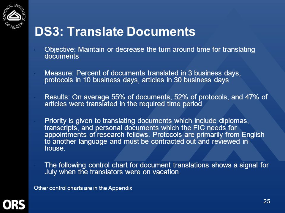 25 DS3: Translate Documents Objective: Maintain or decrease the turn around time for translating documents Measure: Percent of documents translated in