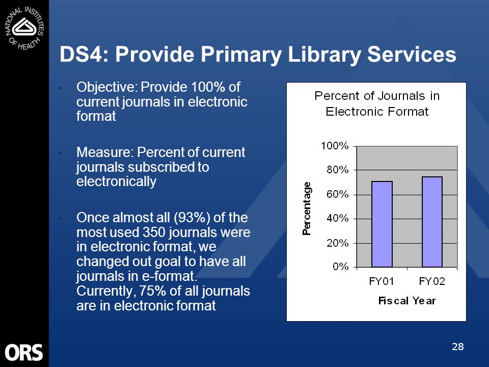 28 DS4: Provide Primary Library Services Objective: Provide 100% of current journals in electronic format Measure: Percent of current journals subscri