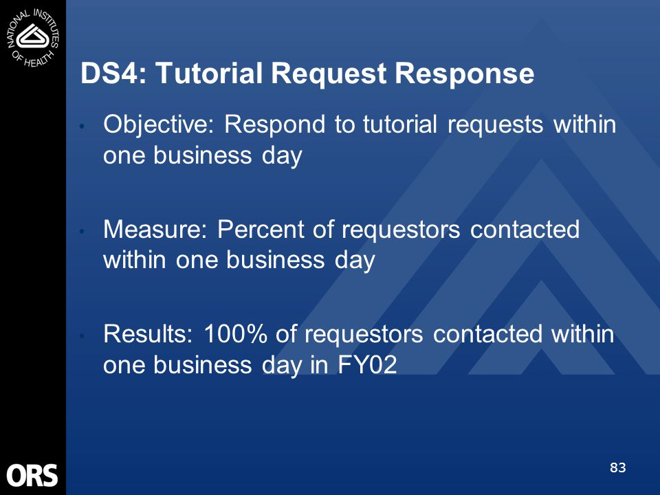 83 DS4: Tutorial Request Response Objective: Respond to tutorial requests within one business day Measure: Percent of requestors contacted within one business day Results: 100% of requestors contacted within one business day in FY02