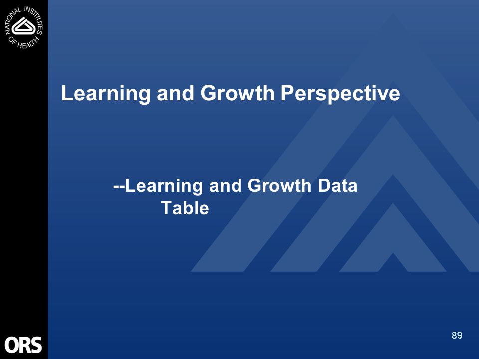 89 Learning and Growth Perspective --Learning and Growth Data Table