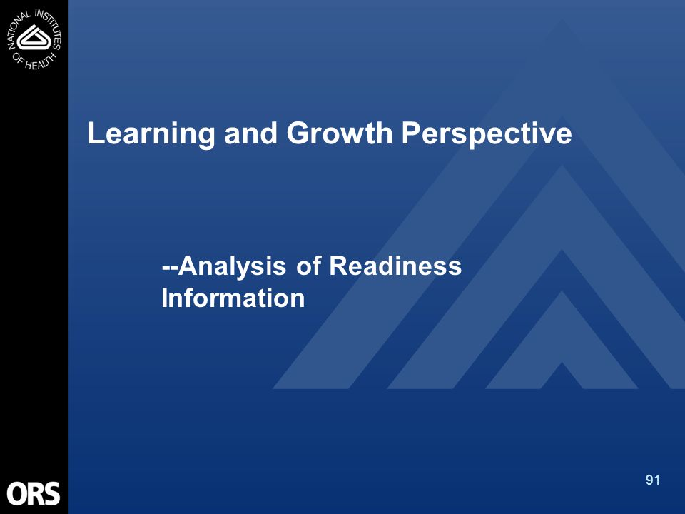 91 Learning and Growth Perspective --Analysis of Readiness Information