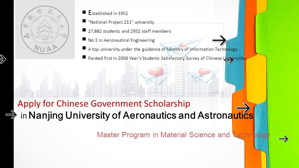 in Nanjing University of Aeronautics and Astronautics Master Program in Material Science and Technology Apply for Chinese Government Scholarship ■ E s
