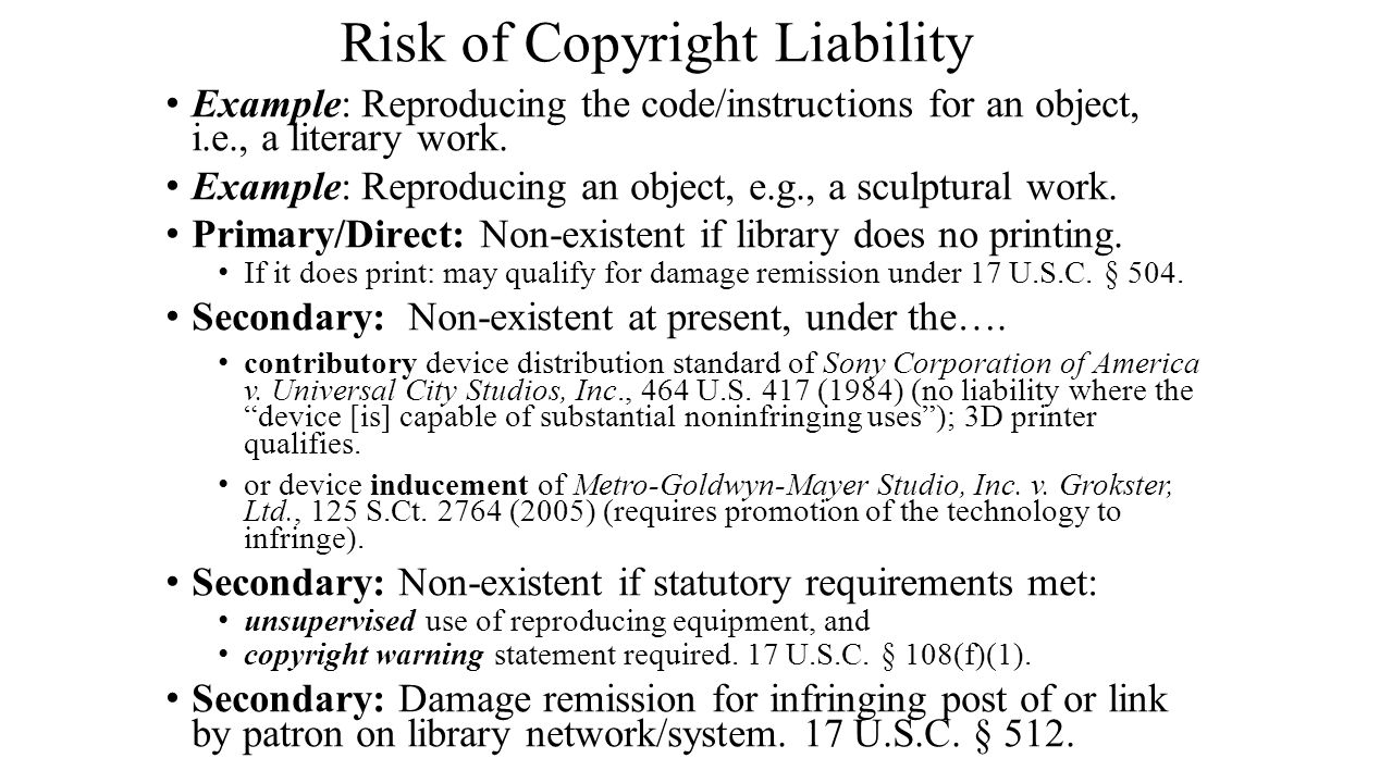 Risk of Copyright Liability Example: Reproducing the code/instructions for an object, i.e., a literary work.