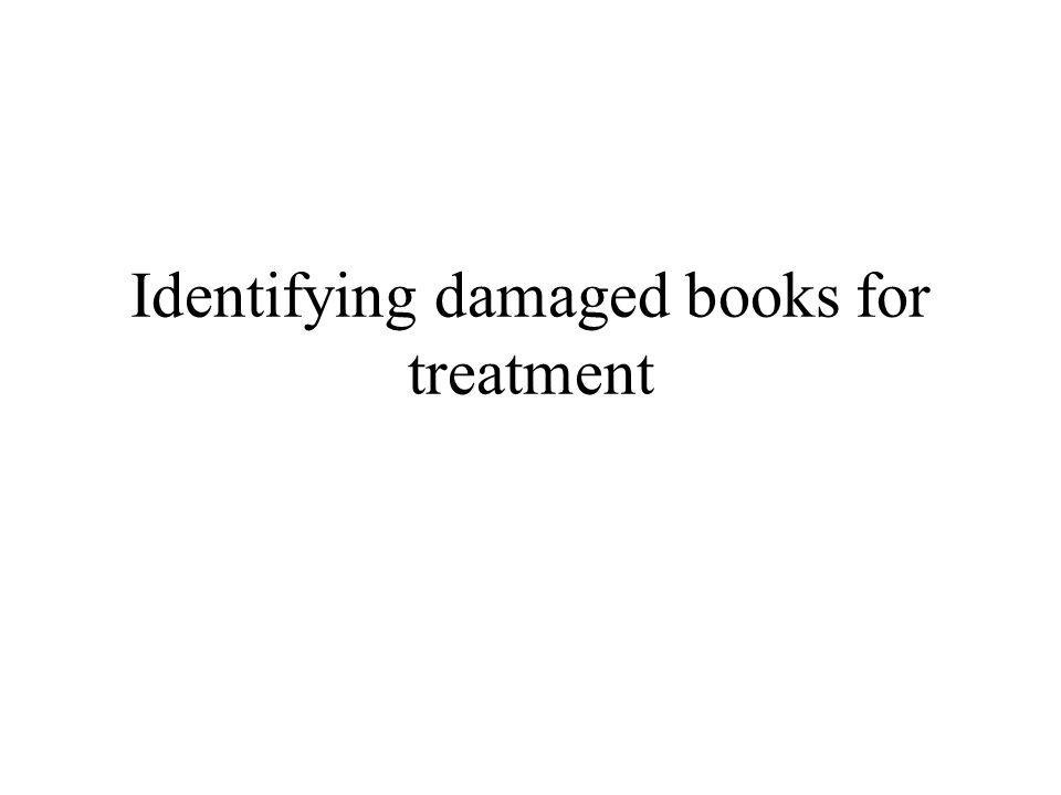 Identifying damaged books for treatment
