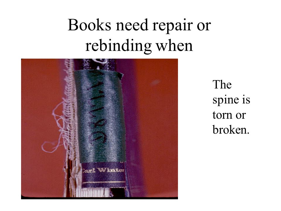 Books need repair or rebinding when The spine is torn or broken.