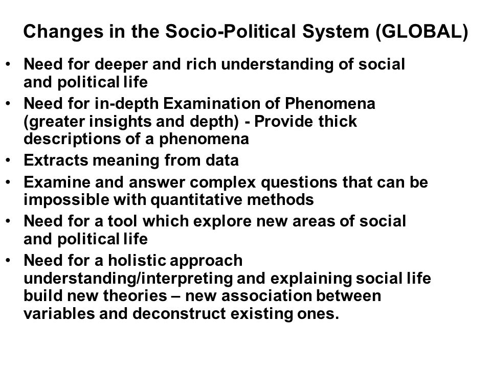 Changes in the Socio-Political System (GLOBAL) Need for deeper and rich understanding of social and political life Need for in-depth Examination of Ph