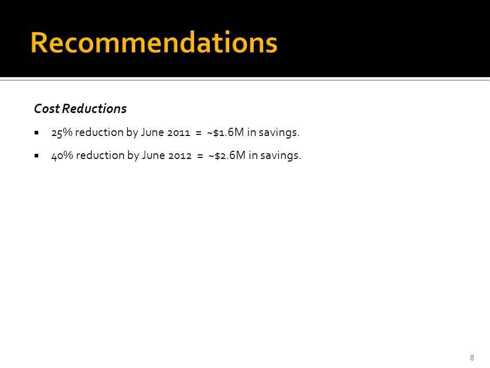 Cost Reductions  25% reduction by June 2011 = ~$1.6M in savings.