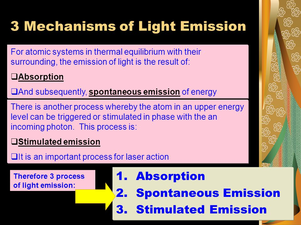3 Mechanisms of Light Emission For atomic systems in thermal equilibrium with their surrounding, the emission of light is the result of:  Absorption