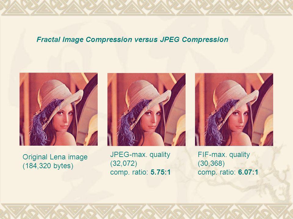 Fractal Image Compression versus JPEG Compression Original Lena image (184,320 bytes) JPEG-max. quality (32,072) comp. ratio: 5.75:1 FIF-max. quality