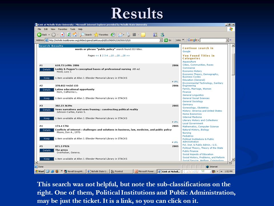 Results This search was not helpful, but note the sub-classifications on the right.