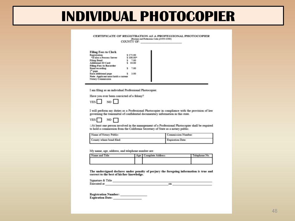 INDIVIDUAL PHOTOCOPIER 48