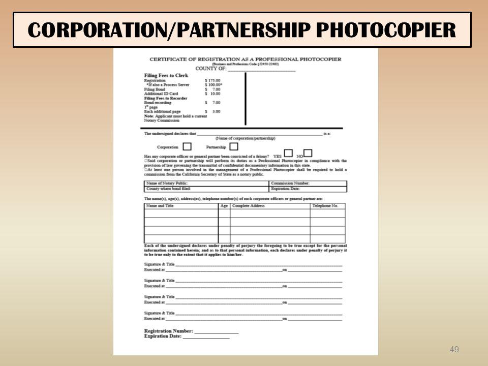 CORPORATION/PARTNERSHIP PHOTOCOPIER 49