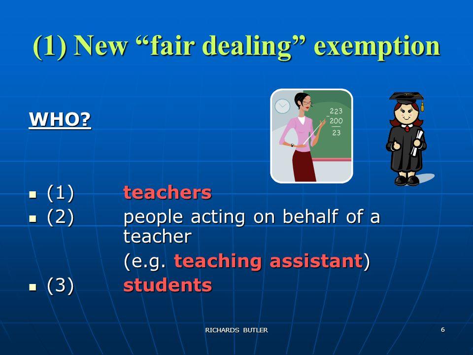 RICHARDS BUTLER 6 (1) New fair dealing exemption WHO.