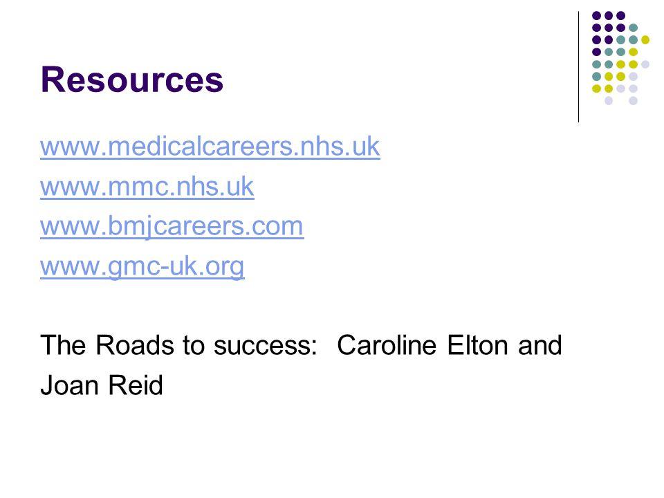 Resources www.medicalcareers.nhs.uk www.mmc.nhs.uk www.bmjcareers.com www.gmc-uk.org The Roads to success: Caroline Elton and Joan Reid