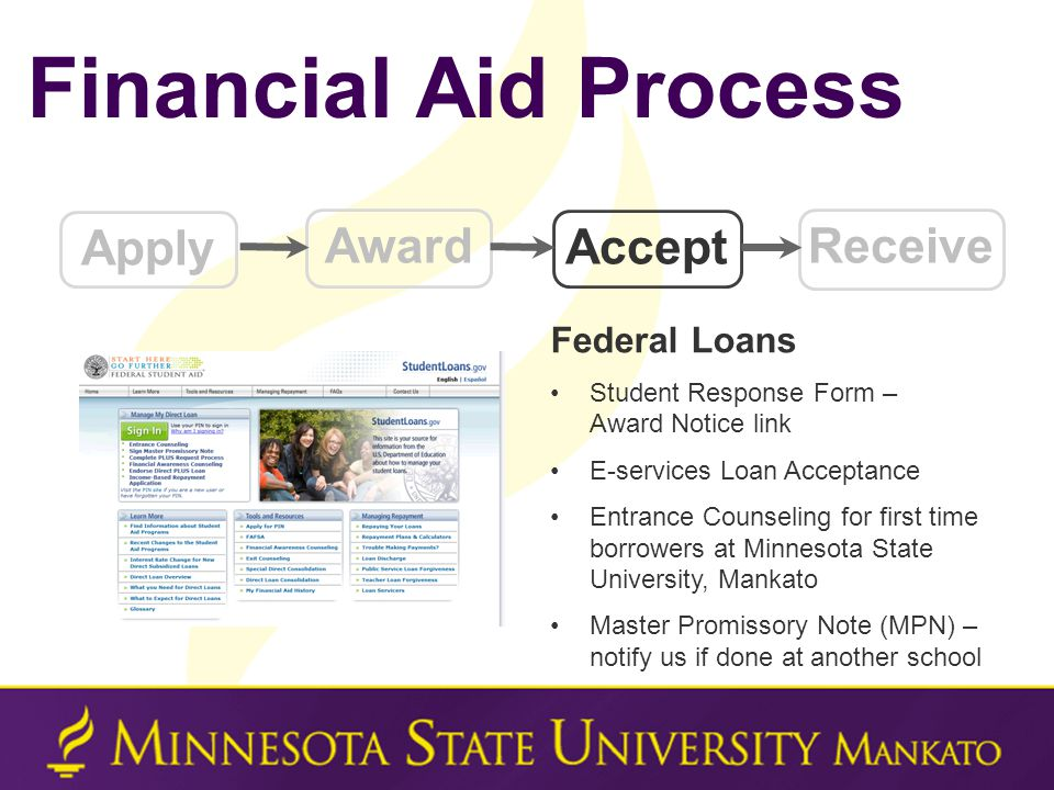 Financial Aid Process Apply Award Accept Receive Federal Loans Student Response Form – Award Notice link E-services Loan Acceptance Entrance Counseling for first time borrowers at Minnesota State University, Mankato Master Promissory Note (MPN) – notify us if done at another school