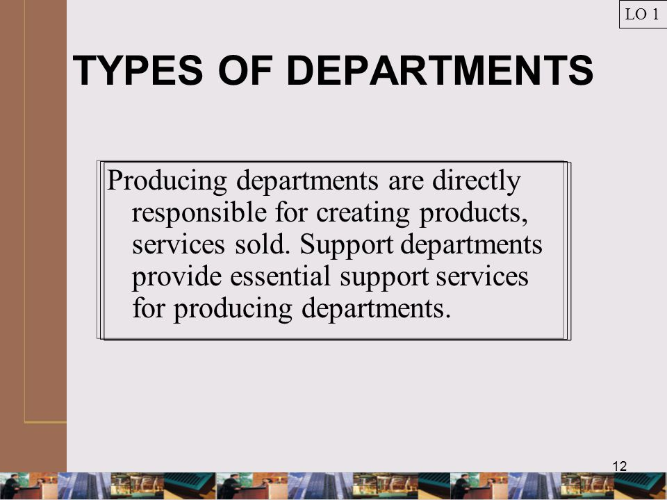 12 TYPES OF DEPARTMENTS Producing departments are directly responsible for creating products, services sold.
