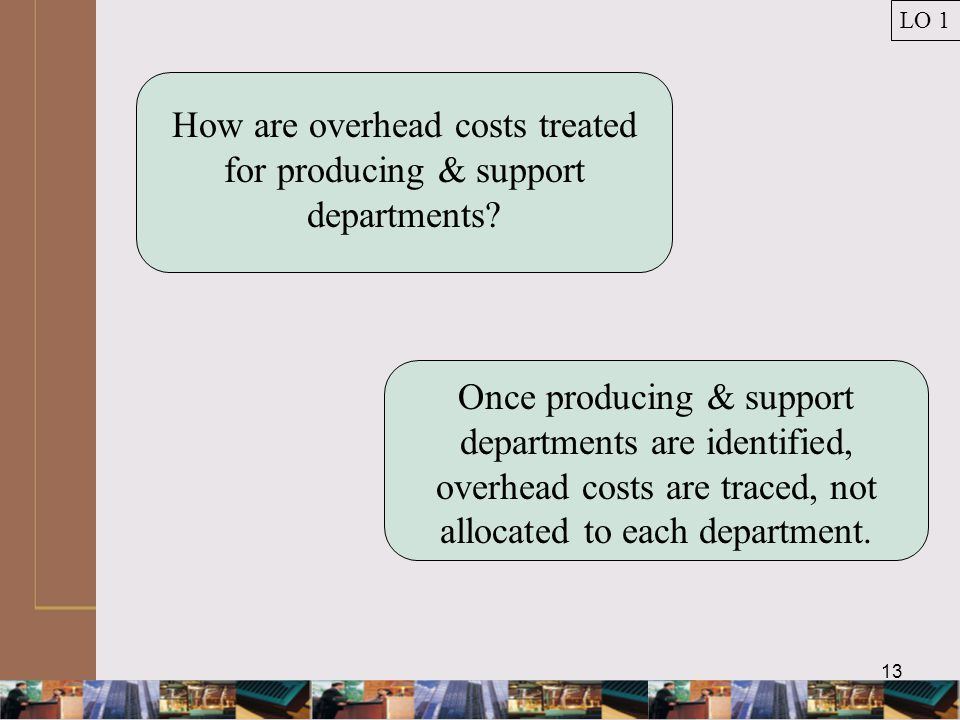 13 How are overhead costs treated for producing & support departments.